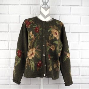 Talbots XL olive green floral embroidered cardi